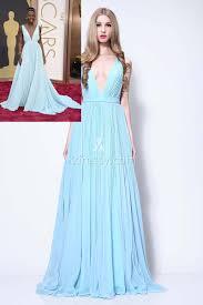 lupita nyong oscar red carpet light blue chiffon plunging v cut