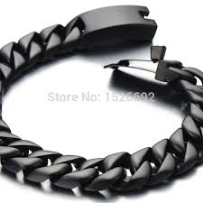 black stainless steel chain bracelet images Black cuban chain bracelet men black stainless steel curb chain jpg