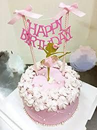 Birthday Decorations For Girls Amazon Com Mybbshower Pink Gold Ballerina Tutus Cake Topper For
