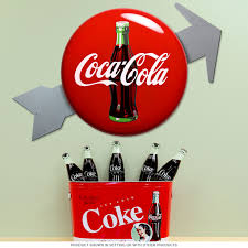 arrow coca cola button metal sign set vintage style coke signs