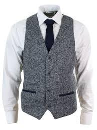 motorcycle waistcoat mens grey blue herringbone tweed slim fit chunky waistcoat blazer