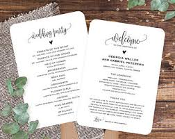 Wedding Program Paddle Fan Template Order Of Service Fan Etsy