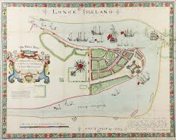 Long Island New York Map by Lot Detail 1654 Long Island New York Hand Colored Map
