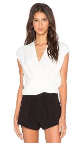 criss cross blouse l agence t criss cross cropped blouse in ivory revolve