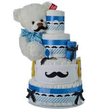 little man mustache 4 tier diaper cake