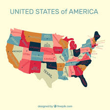 united states of america map with states and capitals united states of america map background vector free