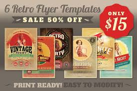 sale 6retro flyer templates 50 off flyer templates creative