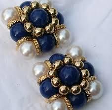 clip on earrings uk modern pearly blue clip earrings pre owned vintage jewellery