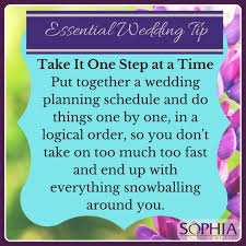 Wedding Planning Schedule Essential Wedding Tip Take It One Step At A Time Sophia Jewellery