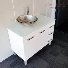 alto 1000mm freestanding bathroom vanity unit white glass top