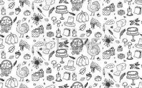 seamless pattern doodle thanksgiving icons set vector