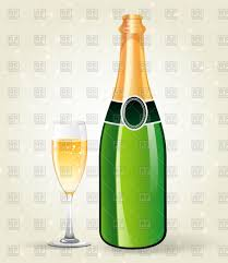 champagne bottle outline bottle of champagne and glass filled vector clipart image 59294