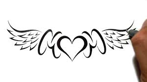 drawing mom with a heart and wings lowerback tattoo design youtube