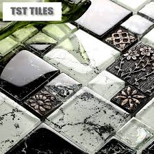 Mirror Backsplash Tiles by New Arrival Black Glass Mosaic Tile Resin Flowers Clear White