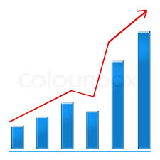 growing chart growing blue bar chart and red rising arrow stock photo colourbox