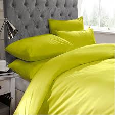 adamlnens lime green plain dyed double duvet quilt cover set with