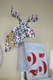Christmas Decor Deer Head by Embroidery Hoop Christmas Wall Decor