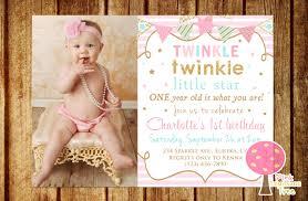 1 Year Invitation Birthday Cards Twinkle Twinkle Little Star Birthday Invitation Pink Gold