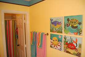 Kids Bathroom Shower Curtain Bathroom Cute Sea Animals Pictures On The Kids Bathroom Wall