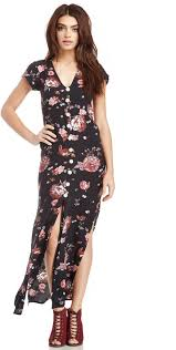 calypso faithfull the brand floral maxi dress in black xs s
