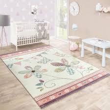 teppich kinderzimmer rosa kinderteppich blumig pastell creme kinder teppiche