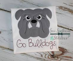 bulldog head applique and quick stitch sketch
