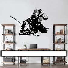 aliexpress com buy hockey goalie wall decal wall art vinyl aliexpress com buy hockey goalie wall decal wall art vinyl sticker edmonton oilers cam talbot player silhouette home decor kids teen bedroom a196 from