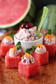 Easy Appetizers by Watermelon Cups With Cranberry Mascarpone Cravings Of A Lunatic
