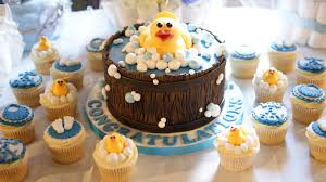 duck themed baby shower cake and cupcakes bakealous