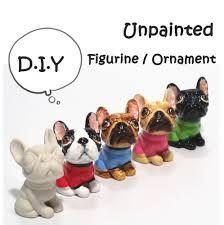 bulldog ceramic unpainted figurine crafts diy figurine