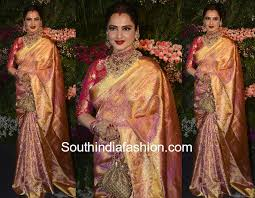 reception sarees for indian weddings rekha in a kanjeevaram saree south india fashion