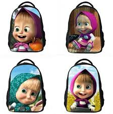 fashion children cartoon bag masha bear russian