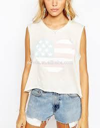 Flag Crop Top Custom American Flag Heart Printed Women Crop Tops Sleeveless T