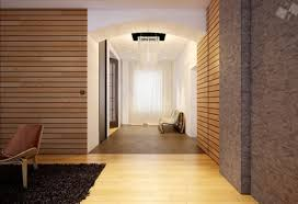 White Soft Rug Home Design Modern Wooden Stripe Wall Design In Long Hallway