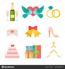 wedding invitation celebration set flat anniversary