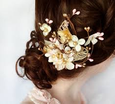 gold hair accessories gold hair flower pink hair accessory bridal hair accessories