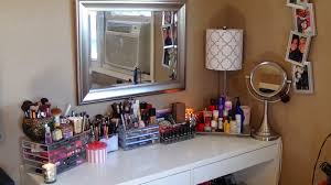 Small Corner Makeup Vanity Bedroom Small Clear Makeup Vanity With 2 Drawers And Three Fold