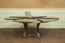 Reclaimed Wood And Iron Dining Table Jupe Table Transitional Jupe Table With Hammered Iron Gray Oak