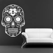 Skull Decorations For The Home Mexican Sugar Skull Wall Art Stickers Home Decoration Vinyl Wall