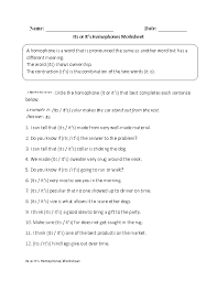homophones worksheets its or it u0027s homophones worksheet