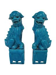 foo dog statue for sale turquoise foo dogs a pair chairish