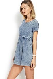 forever 21 distressed denim babydoll dress in blue lyst