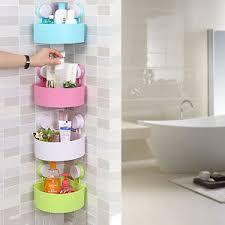 Bathroom Shower Storage Plastic Suction Cup Bathroom Kitchen Corner Storage Rack Organizer