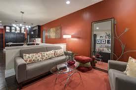 dark orange living room decorating ideas with grey sofa and oval