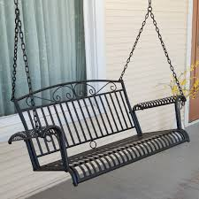 Outdoor Patio Swing by International Caravan Sun Ray 4 Ft Curved Back Metal Porch Swing