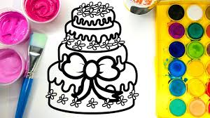 painting pretty birthday cake coloring pages with water color