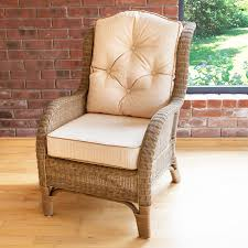 Reading Chair Denver Wicker Reading Chair With Button Back Cushion Jakarta Cream