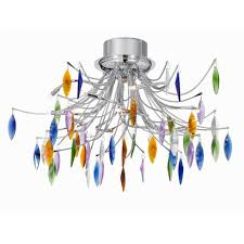Searchlight Ceiling Lights Searchlight Faina Chrome Coloured Glass Semi Flush Ceiling Light