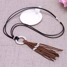leather necklace long images Aobei pearl long korean velvet tassel leather cord necklace jpg