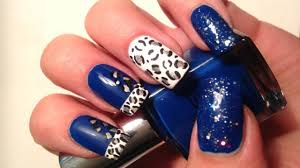 sparkly midnight blue leopard nail art youtube